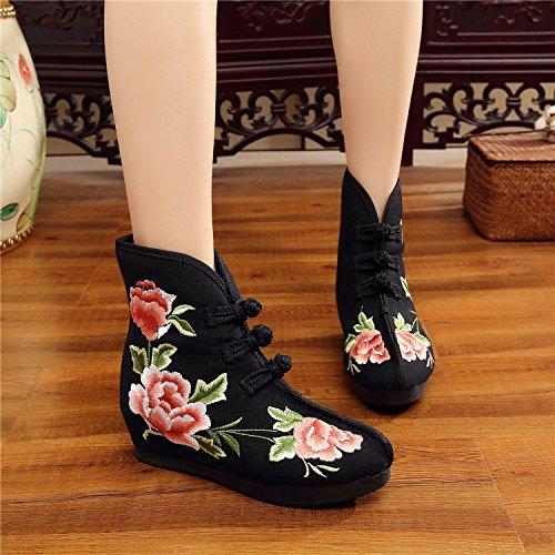 KHSKX-Le Printemps Et L'Automne Seul Vieux Beijing Brodés De Chaussures Bottes L'Augmentation Des Bottes De Style Folklorique Brodé Rétro Bottes Bottines black