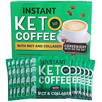 12 Packets Effective Keto Instant Coffee with Pure MCT and Collagen - Low Carb, Sugar-Free, for Travelling, Ketogenic Diet, Hot Breakfast and Balanced Weight Loss| Sweetened with Erythritol from iloveketolife