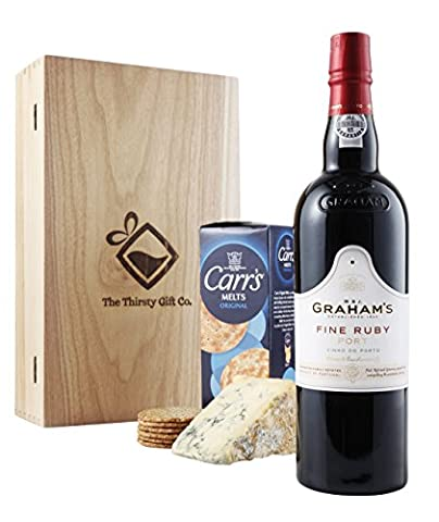 Luxury Graham's Fine Ruby Port Gift Box – Beautifully Presented Gift Box with Grahams Port, Carrs Crackers and Blue