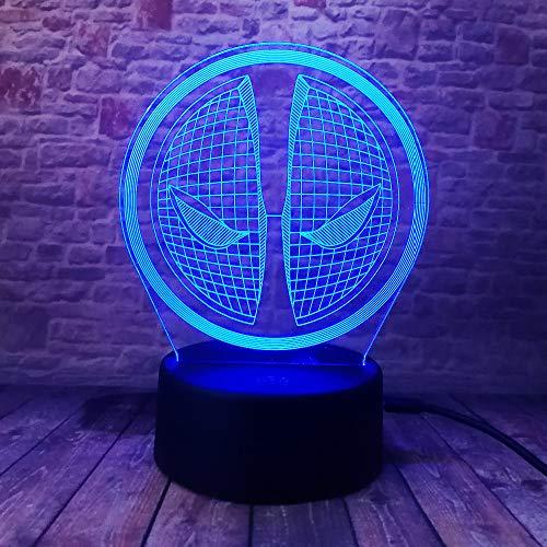 WangZJ Led Nachtlichter / 3d Illusion Nachttischlampe / 7 Farben Ändern Schlafen Beleuchtung/weihnachten/spielzeug/Deadpool Maske Gesicht