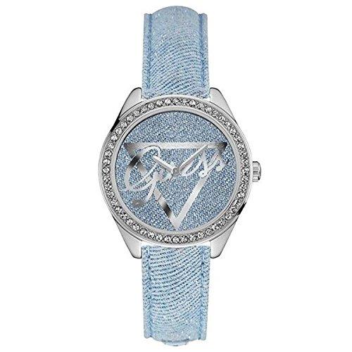 Guess Damen Analog Quarz Uhr mit Leder Armband W0456L10