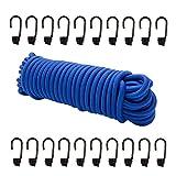Dreamprint Expanderseil 20 m Blau 8 mm Gummiseil Gummischnur Spannseil Planenseil Gummileine Elastisches Seil spannen und befestigen + 20 Spiralhaken Schwarz für ø 8mm Expanderseil