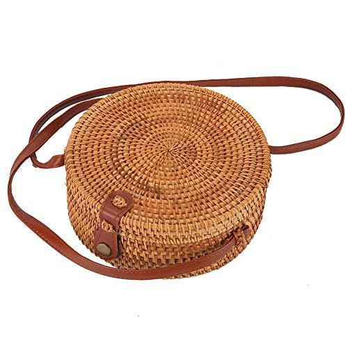 alilove Rattan-Boho-Geldbörse, handgewebt, Bambustasche, Blumenfutter, Druckknopfverschluss -