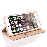 Nouske iPhone 6 6s 4.7 Zoll Stand Hülle Etui with Karte Halterung Leder Wallet Klapphülle Flip Book Case TPU Cover Bumper Tasche Ultra Slim, Gold - 4