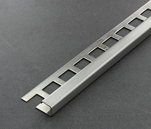 Fliesenschiene, Fliesenprofil, Quadratprofil, Edelstahl (V2A) gebürstet, Länge 2,50 m 12,5 mm Höhe 1 Stück