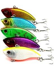 """Hengjia Pack de 5plástico realista señuelo de pesca vib vibración para Stream Río Shallow Shad Bass cebo swimbait de buceo Crank Pesca Tackle 0.32oz/2.16""""/5,5cm"""