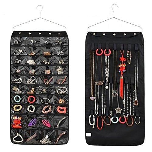 Doppelseitig Schmuck-Organizer, Teckpeak 40 Taschen 20 Haken Schmuckaufbewahrung Schmuck hängend lagerung Organizer mit Kleiderbügel