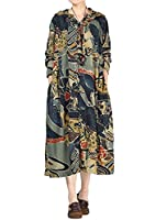 Vogstyle Women's New Cotton Linen Printed Trench Coat Style 1-Army Green