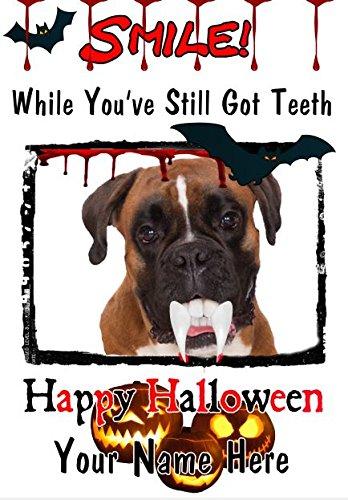 Boxer Hund A5personalisierbar Grußkarte Halloween Zähne Smile C11gruselige Horror