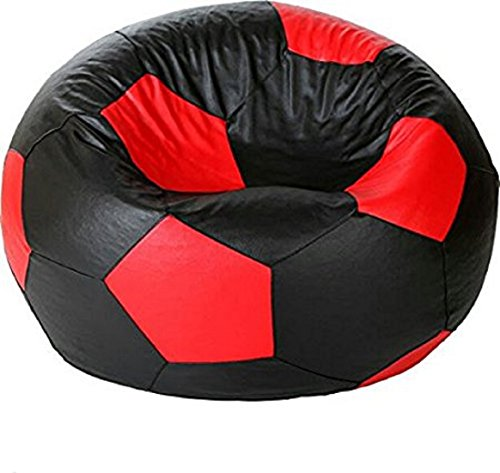 Tik Toc Rexine Leather Black & Red Football Bean Bag Cover Without Filler  available at amazon for Rs.499