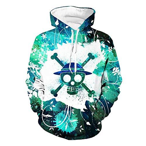 Lonimor Mens 3D Print Hoodie Pullover Sweatshirt Pullover Mit Kapuze Sweat Baseball Jersey Cosplay Langarm One Piece XXXL -