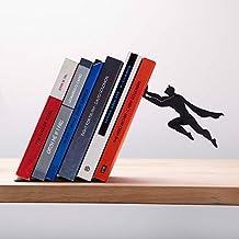 Book & Hero - Sujeta libros con figura de superheroe masculino en metal negro - regalo navideño para geeks