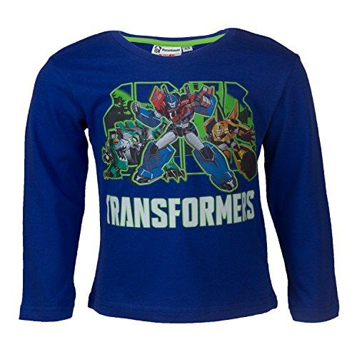 Purzelbaum Transformers Kinder Langarmshirt aus 100% Jersey Baumwolle, Langarm T-shirt mit den Autobots Optimus Prime und Bumblebee für Jungen - Shirt Farbe: Blau, Gr. 104 (2 Transformers T-shirts)