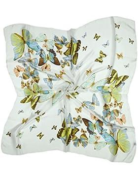 Bees Knees Fashion - Sciarpa - Sciarpa Quadrata Seta Pura Fine Farfalla Bianca