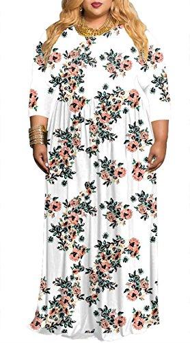 Swallowuk Damen Elegant Lange Ärmel Blumendruck Maxi Kleider Plus Größe Partykleid Boho Strandkleid (3XL, Weiß) (Party Cruise-kleid)