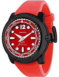 Glam Rock Men's Miami Beach 50mm Red Silicone Band Quartz Analog Watch GR20027