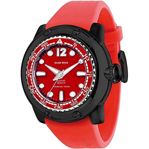 Glam Rock Men's Miami Beach 50mm Red Silicone Band Polycarbonate Case Quartz Analog Watch GR20027