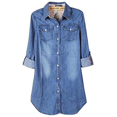 OCHENTA Women's Cuffed Sleeve Denim Shirts Blouse Jean Jacket