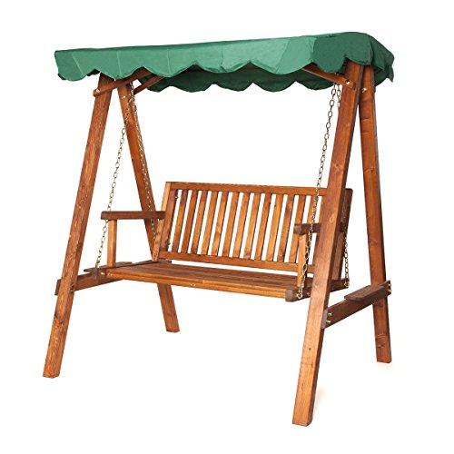 Hollywoodschaukel mit Dach | Sitzbank aus vorbehandeltem Holz wetterbeständig | Dachhimmel der Gartenschaukel grün | belastbar bis 240 kg | Ketten verstellbar