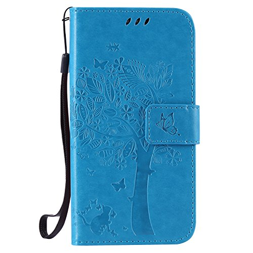 kelman Custodia per Samsung Galaxy J5 2015 / SM-J500 Cover Custodia Case PU Pelle + Silicone TPU Entro Conchiglia Moda Goffratura Flip Portafoglio Custodia - [KT01 - Blu]