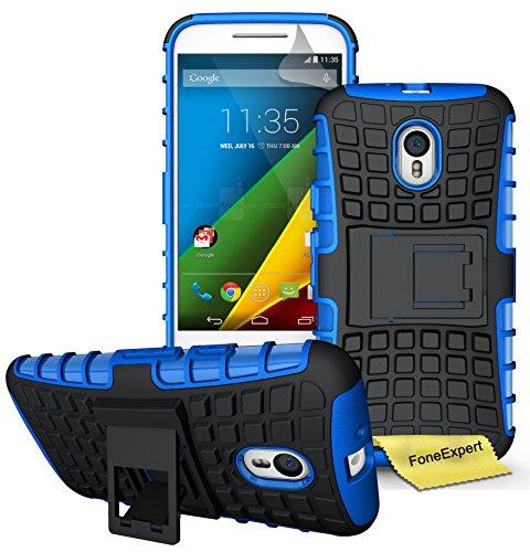 Motorola Moto G (3. Generation) Handy Tasche, FoneExpert® Hülle Abdeckung Cover schutzhülle Tough Strong Rugged Shock Proof Heavy Duty Case für Motorola Moto G (3. Generation) + Displayschutzfolie (Blau)