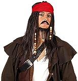 Hatstar Piraten Perücke Seeräuber- mit Bandana, Perlen und Charms (Pirat Dunkelbraun - Kopftuch Rot)