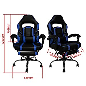 513ZTnF9sCL. SS300  - HG-Office-Silla-giratoria-Silla-para-juegos-Premium-Comfort-Apoyabrazos-acolchados-Silla-de-carreras-Capacidad-de-carga-200-kg-Altura-ajustable-negro-azul