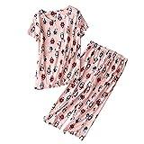 Jodimitty Schlafanzug Damen Pyjamas Set Nachtswäsche Kurzarmshirt 3/4 Hose Set Baumwolle Rundhals Karikaturdruck Zweiteilig für Mädchen Frauen Sommer