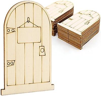 CLE DE TOUS - 25pcs Puertas de hadas de madera Láser Cortado Forma Semicírculo