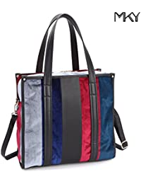 Women Vertical Stripe Tote Multicolor Shoulder Bag Leather Velvet Handbag By Mky