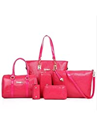 Mei&ge Crocodile Skin Pattern Glossy Finish PU/Synthetic Leather Handbags For Women - Set Of 6 - Pink Colour