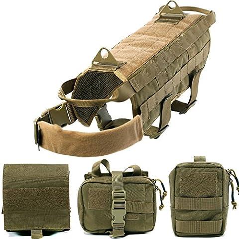 Petcomer Harnais pour Chiens Souple en Nylon Camisole pour dressage style militaire avec 3 poches détachables pour randonnée marche animal de compagnie (L, Marron)
