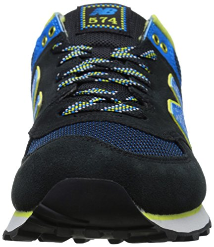 New Balance Mens 574 Outside In Classics Traditionnels Suede Trainers Black Multi