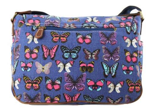 Miss Lulu - Borsa a tracolla da donna, stile vintage, motivo: gufi con foglie/farfalle, in tela o cerata Butterfly Navy (Canvas)