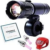 Fahrradlicht (Deluxe Set) 1 x Superhelles LED Zoom Licht mit Montagebügel - 1 x Superhelles LED Rücklicht - 2 Reifen Ventil LED Lichter