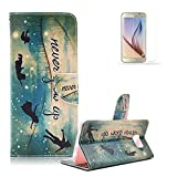 For Samsung Galaxy S6 Edge Plus / S6 Edge+ Case [with Free Screen Protector], Funyye Stylish Premium Flip Magnetic Detachable PU Leather Wallet with Credit Card Holder Slots Smart Standing Folio Book Style Ultra Thin Nice Drawing Patterns Protective Case Cover Skin for Samsung Galaxy S6 Edge Plus / S6 Edge+ - Green Dream Never Grow Up