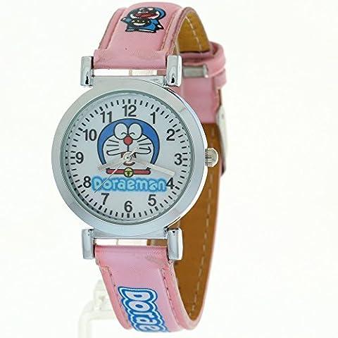 TimerMall Doraemon Children Kids Girls Boys Lovely Cartoon Pink Leather Band Quartz Wrist Watches