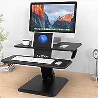 SLYPNOS Sit Stand Desk Height Adjustable Standing Desk, Ergonomic PC Workstation Converter Stand Up Desk Riser with Detachable Keyboard Tray Cup Holder for Computer for Home Office, 64*45.5 cm, Black