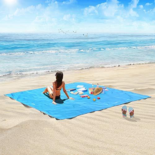 HOSPORT Coperta da Spiaggia Coperta da Picnic Impermeabile Oxford - 84,6 '' x 84,6 '' per 4 Persone Coperta a Prova di Sabbia Portatile per PIC-nic, Spiaggia, Escursionismo, Campeggio ECC. (Blu)