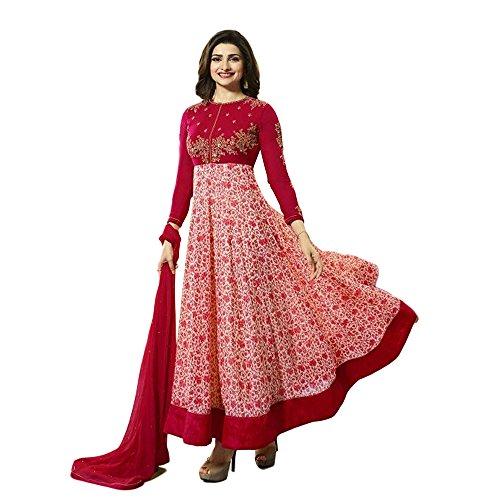 Designer Desk Women's Georgette Anarkali Salwar Kameez(119F4F02Dm_Red Free Size)