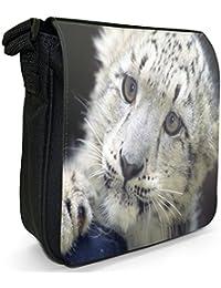 Cute Baby Snow Leopard Cub Small Black Canvas Shoulder Bag / Handbag