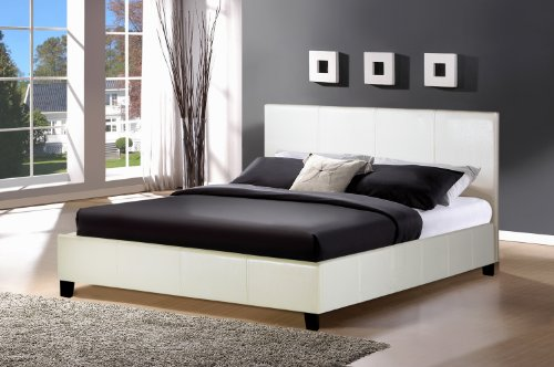 Birlea Berlin Bed - Faux Leather, White, King Size