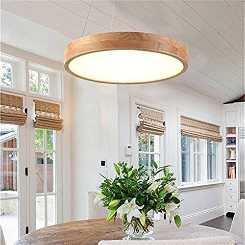 NaNa Lampadario Moderno a LED in Legno massello Rotondo Rotondo Oscurante Lampada da soffitto Regolabile Altezza Soggiorno Camera da Letto