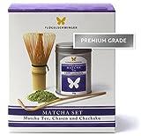 Matcha-Set - 50g Matcha-Tee, Bambusbesen (Chasen) und Dosierlöffel (Chachaku) | PREMIUM GRADE |