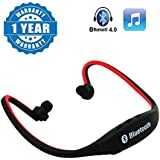 Drumstone MPBL-020 Wireless Bluetooth Sports MP3 Player With FM/MicroSD Card Slot Functions (Red) Works With All Android Or IPhone Devices (1 Year Warranty, Color May Vary)