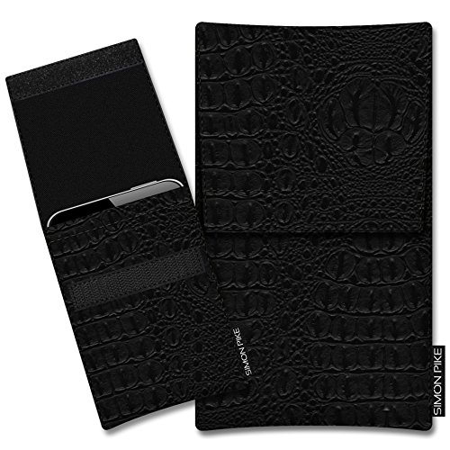 SIMON PIKE Kunstleder Tasche Sidney, kompatibel mit Motorola Moto G7, in 01 schwarz Kroko Kunstleder