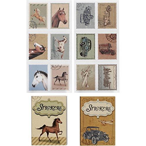 Briefmarken-Sticker, Größe 25x33 mm, Pferde und Autos, 36sort. -