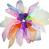 WonderforU Quadrat Jonglier Tücher Tanz Schals für Kinder und Zaubertricks, Mehrfarbige 10 Stücke 60cm x 60cm