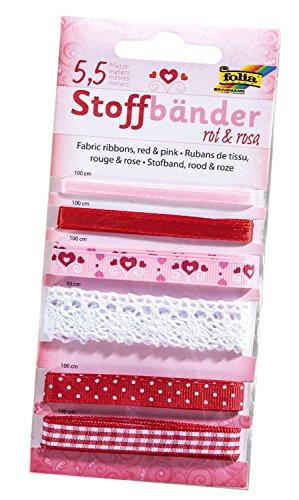 Folia 12202 - Stoffbänder, 6 stück, rot/rosa