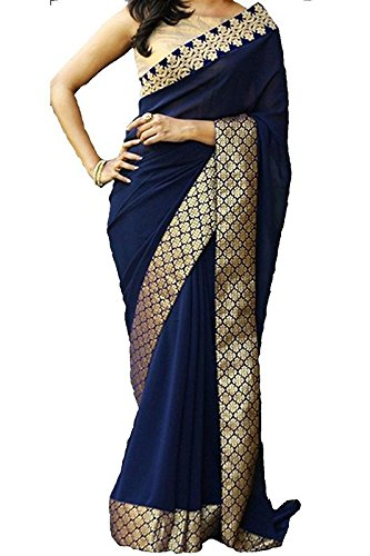 Ideal Trendz Chiffon Silk Saree With Blouse Piece (I Mix_Navy Blue_Free Size)